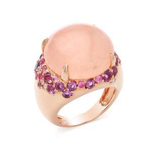 แหวนประดับโรสควอร์ทซ์ (Rose Quartz) สีชมพู เสริมเสน่ห์เรื่องความรัก สร้างมิตรภาพหนุนนำควมร่ำรวย ตัวเรือนเงินแท้ชุบสีพิ้งค์โกลด์ (Pink Gold)