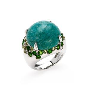 แหวนประดับอะมาโซไนท์ (Amazonite) สีฟ้า เสริมเรื่องความก้าวหน้า ในหน้าที่การงานเด่นในเรื่องการเจรจาต่อรอง ตัวเรือนเงินแท้ชุบสีทองคำขาว