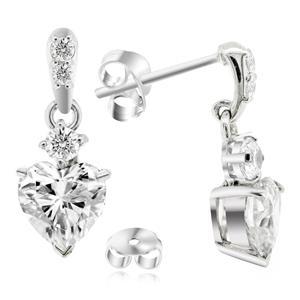 ต่างหู DiamondLike ทรงหัวใจ 6 มิล ประดับด้วยคิวบิคเซอร์โคเนีย คัดพิเศษ ตัวเรือนเงินแท้ ชุบทองคำขาว สวยสง่าเมื่อสวมใส่