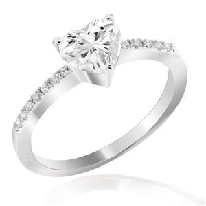 แหวนเพชร DiamondLike รูปหัวใจ เม็ดใหญ่ขนาด 6 มิล ตัวเรือนเงินแท้ 925 ชุบทองคำขาว