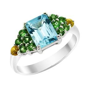 แหวนบลูโทพาส(Blue Topaz) สีฟ้า ประดับพลอยซาโวไรท์สีเขียว และบุษราคัมสีเหลือง ตัวเรือนเงินแท้ชุบทองคำขาว