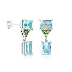 ต่างหูบลูโทพาส(Blue Topaz) สีฟ้า ประดับพลอยซาโวไรท์สีเขียว และบุษราคัมสีเหลือง ตัวเรือนเงินแท้ชุบทองคำขาว
