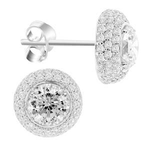 ต่างหู DiamondLike ขนาด 4มิล ล้อมรอบด้วย คิวบิคเซอร์โคเนียอีก 65 เม็ด ตัวเรือนเงินแท้ชุบทองคำขาว สวยงามอลังการ ใส่ติดหูดูดีได้ทุกวัน