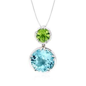 จี้ประดับพลอยบลูโทปาซ(BlueTopaz) สีฟ้า และพลอยเพอริดอท(Peridot) สีเขียว ตัวเรือนเงินแท้ชุบทองคำขาว
