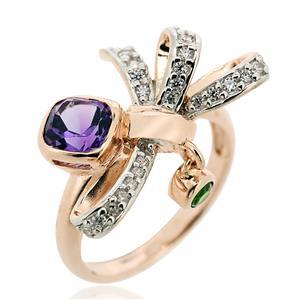 แหวนประดับพลอยอะเมทิสต์(Amethyst) สีม่วง พลอยโคมไดออฟไซด์(Chrome Diopside) สีเขียว และเพชร DiamondLike ตัวเรือนเงินแท้ชุบพิ้งค์โกลด์