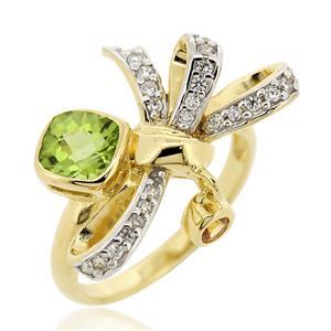 แหวนประดับพลอยเพอริดอท(Peridot) สีเขียว แซฟไฟซ์สีส้ม(Orange Sapphire) สีส้ม และเพชร DiamondLike ตัวเรือนเงินแท้ชุบทองคำ