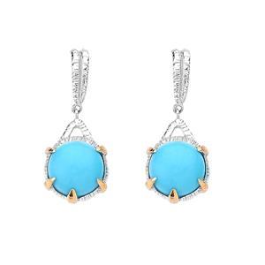 ต่างหูเทอควอยส์ (Turquoise) สีฟ้า หลังเบี้ย ทรงกลม ตัวเรือนเงินแท้ชุบสีทองคำขาวและทองคำ