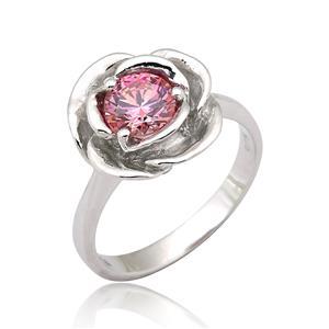 แหวนดอกกุหลาบ ประดับ SWAROVSKI ZIRCONIA สีชมพูแฟนซี ตัวเรือนเงินแท้ชุบทองคำขาว