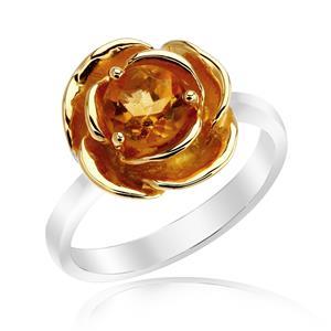 แหวนซิทริน รูปดอกกุหลาบ ตัวเรือนเงินแท้ชุบทองคำขาวและทอง 18K ที่กลีบกุหลาย เหมาะสำหรับผู้ที่ต้องการเสริมพลังในการทำงาน