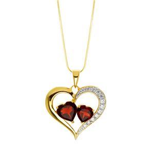 จี้โกเมน ทรงหัวใจ ประดับคิวบิคเซอร์โคเนีย ตัวเรือนเงินแท้ ชุบทอง 18K ดีไซน์โค้งรูปหัวใจ สวยจับใจ ใครเห็นเป็นต้องยิ้มให้