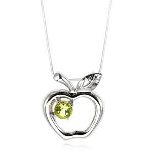 จี้รูปแอปเปิ้ล ผลไม้แห่งความรัก ประดับเพอริดอท ตัวเรือนเงินแท้ 925 ชุบทองคำขาว
