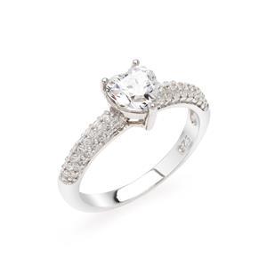 แหวนเพชร DiamondLike รูปหัวใจ เม็ดใหญ่กลางเรือน ประดับด้วย Cubic Zircinia เรียงแนวยาวดีไซน์อิตาลี่