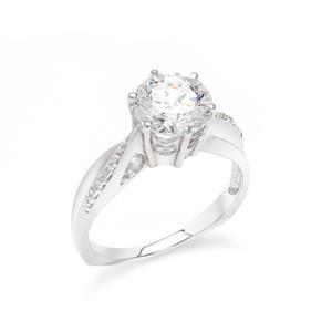 แหวน เพชร DiamondLike เม็ดใหญ่ ประดับด้วย Cubic Zirconia วิ่งโค้งเข้าหาใจกลางแหวน ให้ความรู้สึกสุดหรูพร้อมอ่อนโค้งภายในวงเดียว