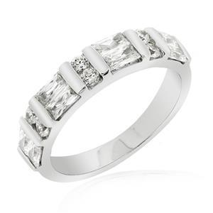 แหวนเพชร DiamondLike หรูสุด สะดุดตา ด้วยสไตล์ เพชรทรง Baguette สลับทรงกลม ตัวเงินทำจากเงินแท้ 925 ชุบทองคำขาว ใส่ได้ทั้งหญิงและชาย