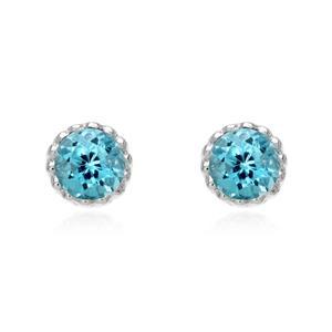ต่างหูบลูโทแพซ (Blue Topaz) ดีไซน์สดใสน่ารัก ตัวเรือนเงินแท้ 925 ชุปทองคำขาว (Rhodium)