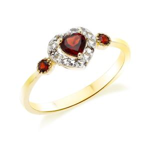 แหวนเงินแท้ 925 สุดเก๋กับดีไซน์ พลังแห่งความรัก ตัวเรือนชุปทอง 18 เค (18k Gold) ประดับด้วยพลอยสีแดง การ์เน็ต (Garnet) รอบล้อมหัวใจด้วยพลอยสีขาว ไวท์ โทแพซ (White Topaz )