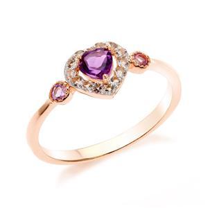 แหวนเงินแท้ 925 ดีไซน์รูปหัวใจน่ารัก ชุปพิงค์โกลด์ (Pink Gold) ประดับด้วยพลอยสีม่วง อเมทิสต์ (Amethyst) รอบล้อมหัวใจด้วยพลอยสีขาว ไวท์ โทแพซ(White Topaz )