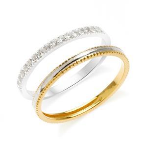 แหวนเงินแท้ 925 ดีไซน์ 2 in 1 ตัวเรือนชุปทองคำขาวประดับพลอย สีขาวไวท์ โทปาซ (White Topaz) แหวนเกลี้ยงดูเรียบหรู ชุปสองสี ทองคำขาวและทอง 18 เค สามารถ Mix and Match  และเลือกใส่ในแบบสไตส์คุณ