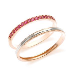 แหวนเงินแท้ 925 ดีไซน์ 2 in 1 ตัวเรือนชุปพิงค์โกลด์ประดับพลอย สีแดง ทัมทิม (Ruby) แหวนเกลี้ยงเพิ่มสเสน่ห์แสนหวาน ชุปสองสี ทองคำขาวและพิงค์โกลด์  สามารถ Mix and Match  และเลือกใส่ในแบบสไตส์คุณ