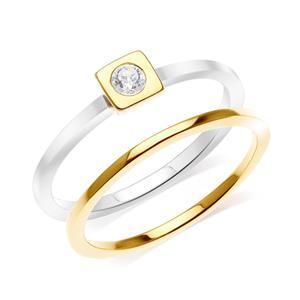 แหวนเงินแท้ 925 ดีไซน์ 2 in 1 ชุปสองสี ทองคำขาว กับ ทอง 18เค ประดับ สวารอฟสกี้ (Swarovski Cubic Zirconia )ความเรียบเก๋ ที่สื่ออกมาเป็นรูปทรงเรขาคณิต เสริมแต่งด้วยไลฟ์สไตล์ (Lifestyle) ที่สามารถ Mix an