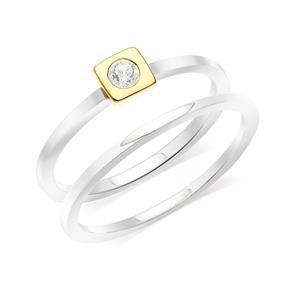 แหวนเงินแท้ 925 ดีไซน์ 2 in 1 ชุปสองสี ตัวเรือนทองคำขาว กระเปาะชุปทอง 18เค ประดับ สวารอฟสกี้ (Swarovski Cubic Zirconia ) ความเรียบเก๋ ที่ Mix and Match  ได้อย่างลงตัว