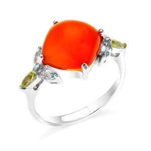 แหวนคาร์เนเลียน เงินแท้ 925 ชุบทองขาว เพิ่มความโดดเด่นให้กับเรียวนิ้ว ด้วยพลอยสีส้มสดใส คาร์เนเลี่ยน (Carnelian) มาพร้อมกับพลอย สีเขียวอมอมเหลือง เพอริดอต(Peridot) สีฟ้า สกายบลู โทแพซ (sky Blue Topaz)