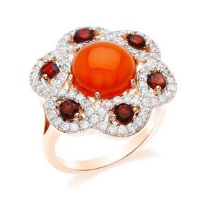 แหวนคาร์เนเลี่ยน เงินแท้ 925 ตัวเรือนชุบทองชมพู เพิ่มความโดดเด่นให้กับเรียวนิ้ว ด้วยพลอยสีส้มสดใส คาร์เนเลี่ยน (Carnelian) สีแดง การ์เน็ต (Garnet) เพิ่มความสว่างประกายวิบวับด้วย  Cubic Zirconia