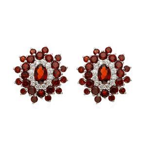 ต่างหูโกเมน เงินแท้ 925 ชุบทองขาว ประดับด้วย พลอยสีแดง โกเมน(Garnet) วิบวับ แวววาวด้วย คิวบิกเซอร์โคเนีย ( Cubic Zirconia)