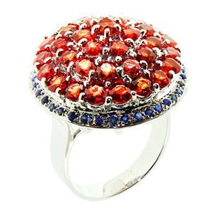 แหวนพลอยแซฟไฟส์(Sapphire) ความงามของอัญมณีสีส้ม บนตัวเรือนเงินแท้ชุบทองคำขาว