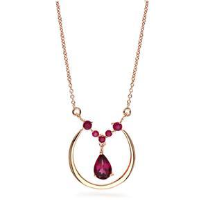 สร้อยคอเงินแท้ 925 ประดับพลอย ทรงหยดน้ำ โรโดไลท์(Rhodolite) และพลอยทับทิม (Ruby) ชุบพิ้ง โกลด์ สวยสง่า เพิ่มเสน่ห์ดึงดูดในตัวคุณ
