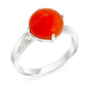 แหวนคาร์เนเลี่ยน (Carnelian) สีสมสด ขนาด 10 มิล ช่วยปกป้องคุ้มภัย ตัวเรือนเงิน 925 ชุบทองคำขาว