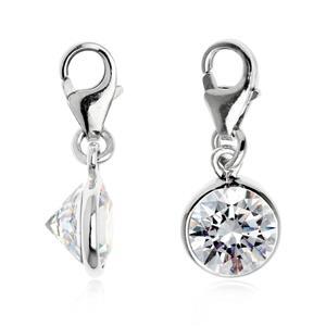 เครื่องประดับประเภท Charm ตัวเรือนเงินแท้ 925 ชุบทองขาว ประดับด้วยพลอยกลมสีขาว ประกายระยิบระยับ จับตา  Diamond like (Cubic Zirconia) ขนาด 3.00 mm.