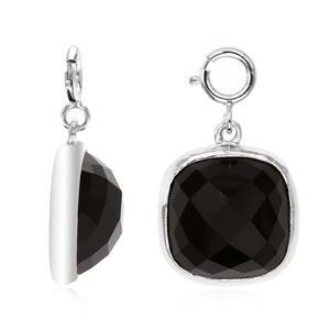 เครื่องประดับประเภท Charm ตัวเรือนเงินแท้ 925 ชุบทองขาว ประดับด้วยพลอยทรงสี่เหลี่ยมรูปหมอน(Cushion Square)ขนาด 10.00 mm สีดำ  ออนิกซ์ (Black Onyx)