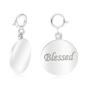 """ชาร์มแท็กนำโชคแผ่นกลม ตัวเรือนเงินแท้925 ชุบทองคำขาว พิมพ์คำว่า"""" Blessed """" ซึ่งนำพาชีวิตสู่ความโชคดี มีแต่สิ่งดีๆเข้ามาในชีวิต"""