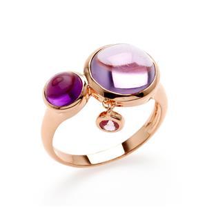 แหวนเงินแท้ 925 ประดับพลอยสีม่วง อเมทิสต์  (Amethyst )นำพาโชคลาภมาสู่ผู้ครอบครอง มีความมุ่งมั่น มีไหวพริบปฏิภาณเฉลียวฉลาด และพลอยสีชมพูเม็ดเล็ก พิ้งแซปไฟร์ ( Pink Sapphire ) ตัวเรือนชุบพิ้งโกล์ด