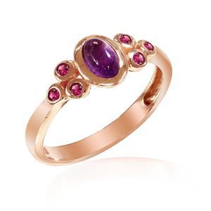 แหวนเงินแท้ 925 ประดับพลอยสีม่วง อเมทิสต์  (Amethyst ) เชื่อกันว่านำพาโชคลาภมาสู่ผู้ครอบครอง  และประดับตกแต่งด้วย พลอยสีแดง ทับทิม ตัวเรือนชุบพิ้งโกล์ด