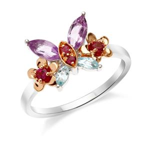 แหวนเงิน 925 ดีไซน์รูปผีเสื้อท่ามกลางดอกไม้ ประดับพลอยแท้ อะเมทิสต์ ทับทิม บูลโทแพซ และโรโดไรท์ สวยหวาน Summer Chic มากๆ