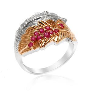 แหวนทับทิม ลายใบไม้ ตัวเรือนเงินแท้ ชุบทูโทนสีขาวโรเดียมและพิงค์โกลด์ คอลเล็คชั่นซัมเมอร์ เพื่อสาวๆวัยทำงาน