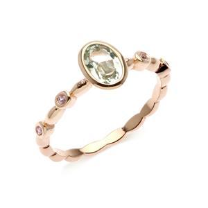 แหวนเงินแท้ ดีไซน์สุดเก๋ดูโดดเด่น ด้วยพลอยรูปไข่กรีนอเมทิสต์ (Green Amethyst)  และแซปไฟร์สีชมพู (Pink sapphire) ตัวเรือนชุบพิ้งโกล์ด