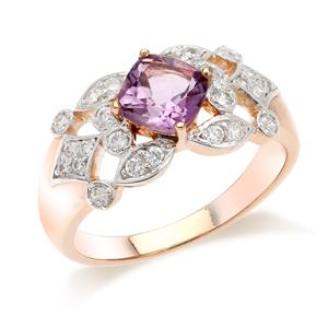 แหวนเงินแท้สไตล์อาร์ตเดโค ประดับพลอยอเมทิสต์ ( Amethyst ) ทรงสี่เหลี่ยม  เติมแต่งด้วยคิวเบิกเซอร์โคเนีย ประกายวิววับสะดุดตา  ชุบทองชมพู ( Pink Gold )