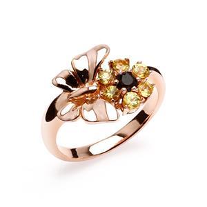เครื่องประดับแหวนเงิแท้ สุดหรูหราด้วยการตกแต่งอัญมณีสโมกกี้ควอตซ์ และสีเหลืองบุษราคัมที่สวยโดดเด่นไม่ซ้ำใครแนวสดใส