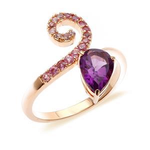 แหวนเงินแท้ 925 ดีไซน์เรียบหรูประดับพลอยทรงหยดน้ำสีม่วง อะเมทิสต์(Amethyst) และแซฟไฟร์สีชมพู(Pink Sapphire)  ชุบทองชมพู