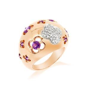 แหวนเงินแท้ดีไซน์น่ารัก อ่อนหวานประดับพลอย อะเมทิสต์ ( Amethyst) และคิวบิกเซอร์โคเนีย (Cubic Zirconia) ชุบพิ้งโกล์ด
