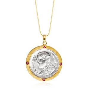 จี้เหรียญบาท ประดับทับทิม ตัวเรือนเงินแท้ ชุบทอง 18k เหมาะเป็นของขวัญ ที่ระลึก