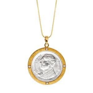 จี้เหรียญบาท ประดับเพชรเซอร์โคเนียะ ตัวเรือนเงินแท้ ชุบทอง 18k เหมาะเป็นของขวัญ ที่ระลึก