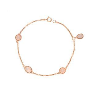 สร้อยข้อมือเงินแท้ ชุปพิงค์โกลด์ (Pink Gold) ประดับโรสควอตซ์  (Rose Quartz) 4 เม็ด ดีไซน์สวยไม่เหมือนใคร