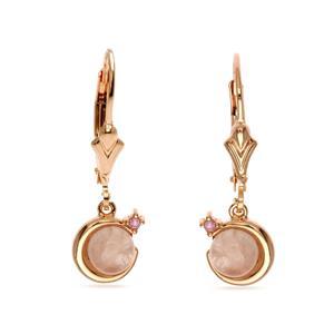 ต่างหูโรสควอตซ์ (Rose Quartz) ประดับพิงค์แซปไฟร์ (Pink Sapphire) ดีไซน์น่ารัก ใส่ได้กับเสื้อผ้าทุกสไตล์