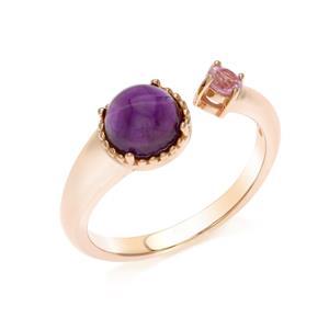 แหวนเงินแท้ ชุบพิงค์โกลด์ ประดับอะเมทิสต์ (Amethyst) และ แซฟไฟร์สีชมพู (Pink Sapphire) ดีไซน์เรียบเก๋ ดูมีสไตล์