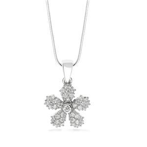 จี้เงินแท้ ชุบโรเดียม รูปดอกไม้ ประดับด้วย CZ (Cubic Zirconia) สวยแวววาว แพรวพราวเป็นประกาย