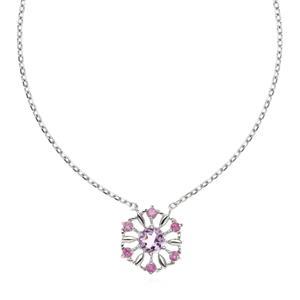 สร้อยคอเงินแท้ 925 ประดับพลอยอะเมทิสต์ (Amethyst) ชุบโรเดียมแวววาว ดีไซน์รูปดอกไม้ 6 กลีบงดงาม หวานใส ช่วยเพิ่มเติมความเป็นผู้หญิงและเสริมสง่าศรีให้กับทุกท่วงท่าของคุณ
